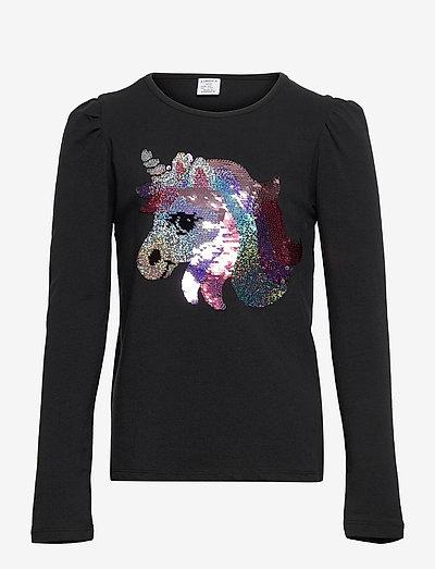 Top pufflseeve unicorn flip se - t-shirts - black