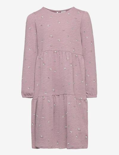 Dress tricot flounces ao print - klänningar - lilac