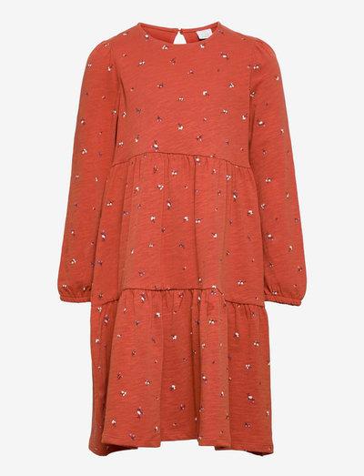 Dress tricot flounces ao print - klänningar - red