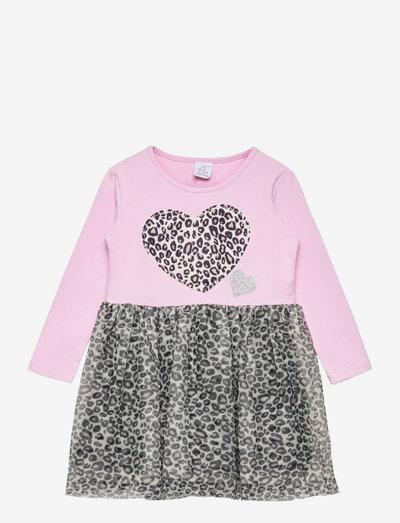 Dress l s with mesh skirt - klänningar - pink