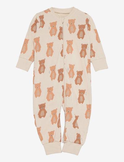 Pyjamas Bear at back - sleeping overalls - beige