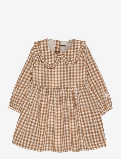 Dress gingham - klänningar - brown