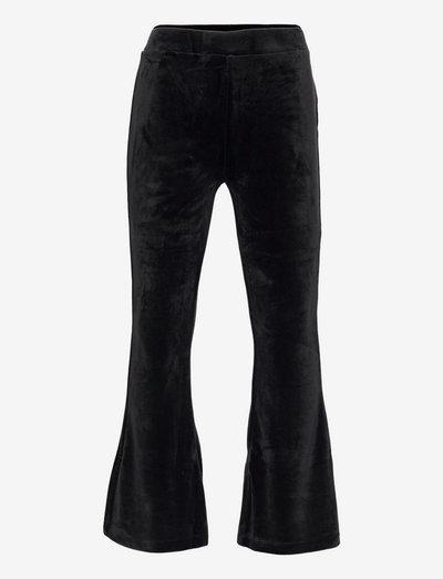 Trousers Vally flare velour - byxor - black