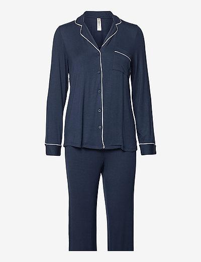 Soft Piping Pj Jersey Viscose - pyjamas - blue