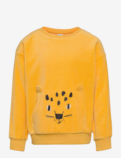 Sweater Velour Face at pkt - sweatshirts - yellow