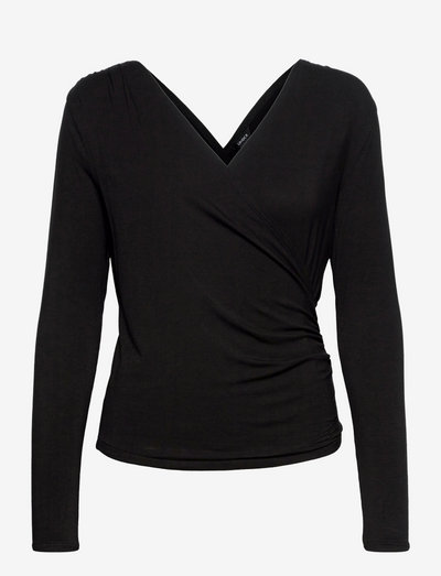 Top Olivia wrap - blouses met lange mouwen - black