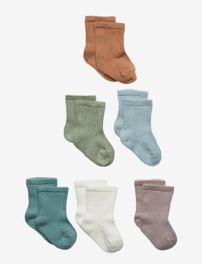 Sock 6p ribb pattern sock fa - strumpor - green