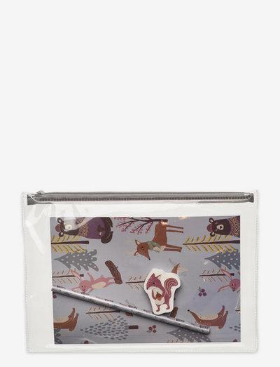 Stationery set Autum prints - pennfodral - grey