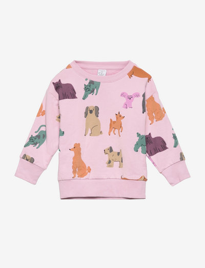 Sweater AOP Dogs Animals frien - bluzy - pink