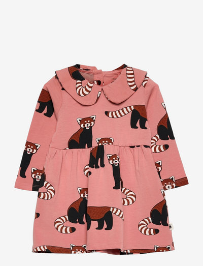 Dress Big Collar Red panda aop - klänningar - pink