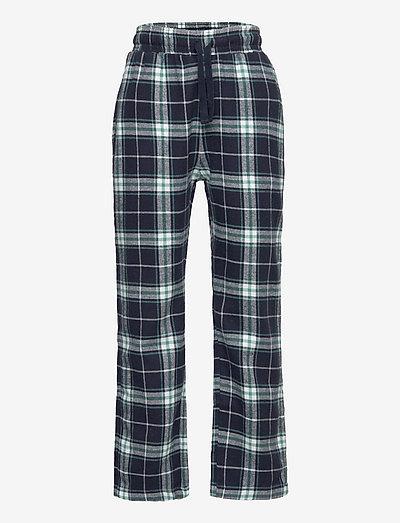 Pajama trousers checked flanne - spodnie - blue
