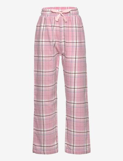 Pajama trousers checked flanne - spodnie - pink