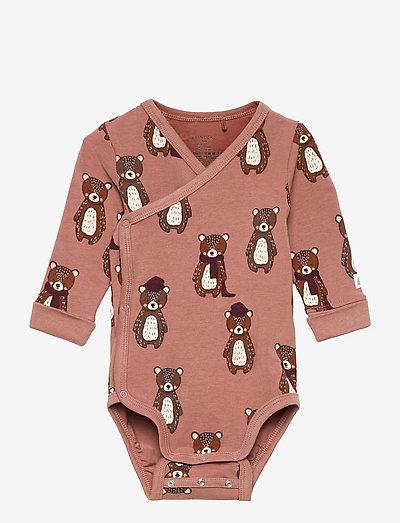 Body wrap aop bear - långärmade - pink