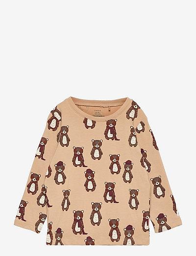 Top aop bear - långärmade t-shirts - beige