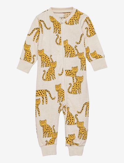 Pyjamas Leopard animals - pajacyki do spania - beige
