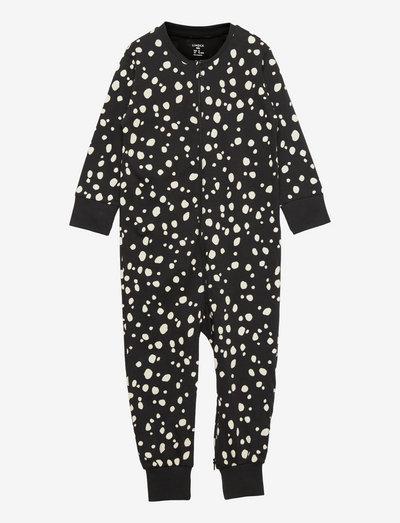 Pyjamas Snow Leopard at back - langärmelig - black
