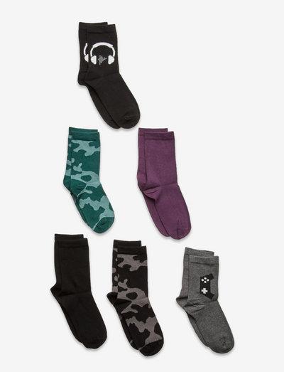 Socks 6p BB pattern camo soli - strumpor - black