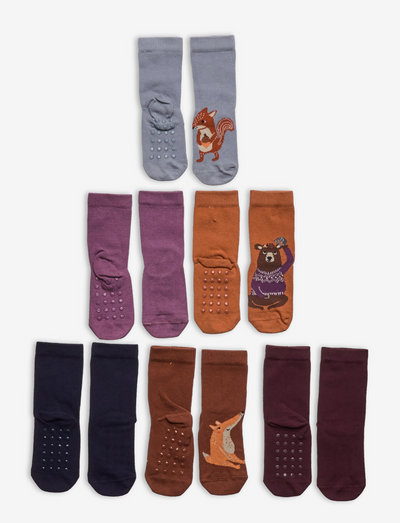 Socks 6p small kids solid fore - halksockor - brown