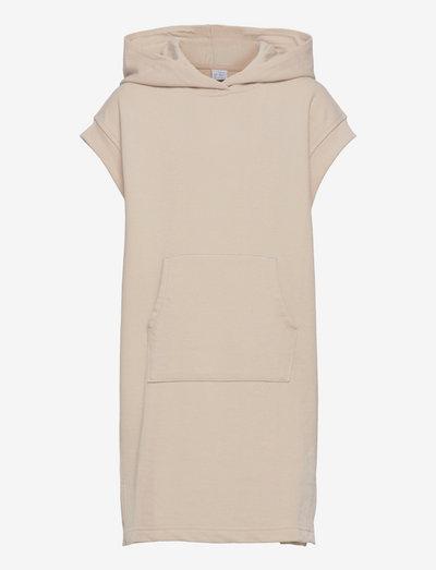 Sweater hoodie dress sleeveles - klänningar - beige