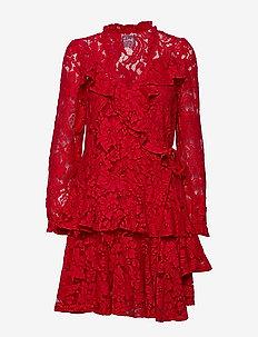 Queen lace - slå-om-kjoler - red