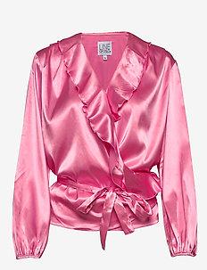 Evelyn satin - långärmade blusar - pink