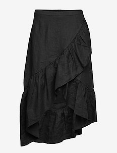 Wendy linen solid - do kolan & midi - black