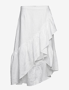 Wendy linen solid - do kolan & midi - white