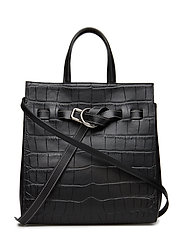 BELTED MINI TOTE - BLACK