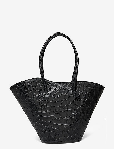TALL TULIP TOTE - shoppingväskor - black croc