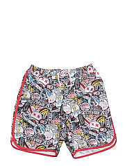 SWIM SHORTS - BLACK  RED