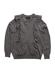 Jr Aza Ruffle Sweater - GREY MELANGE