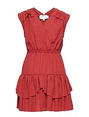 LR Byron Ruffle Dress - OX BLOOD