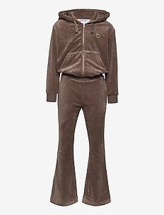 Velour jersey jumpsuit - 2-delte sæt - taupe