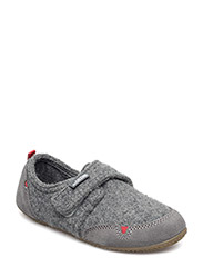 Slipper with velcro and velour - GREY