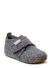 Baby shoe with velcro velourleather - GREY