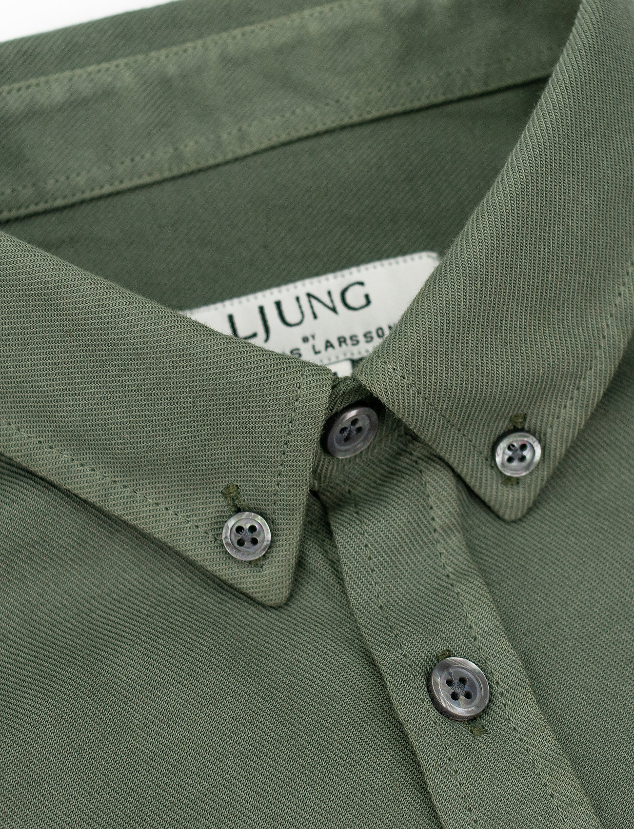LJUNG by Marcus Larsson - Washed Twill Shirt - geruite overhemden - hedge green - 3