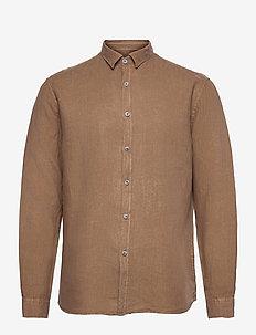 Washed Linen Shirt - chemises basiques - dark sand
