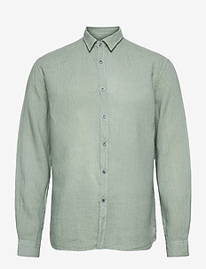 Washed Linen Shirt - chemises basiques - dusty mint