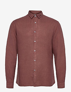 Washed Linen Shirt - chemises basiques - rusty brown