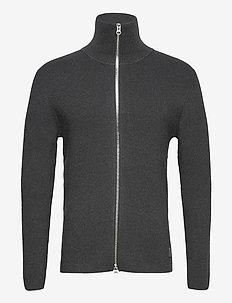 Rib Zip Cardigan - tricots basiques - dk grey mel