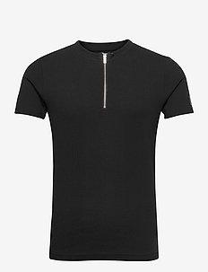 Ribbed Zip Tee - podstawowe koszulki - black