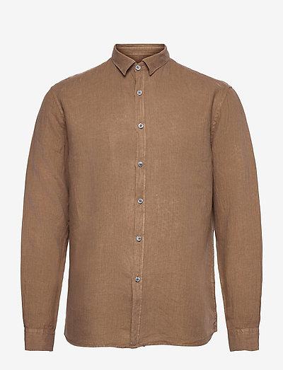 Washed Linen Shirt - basic-hemden - dark sand