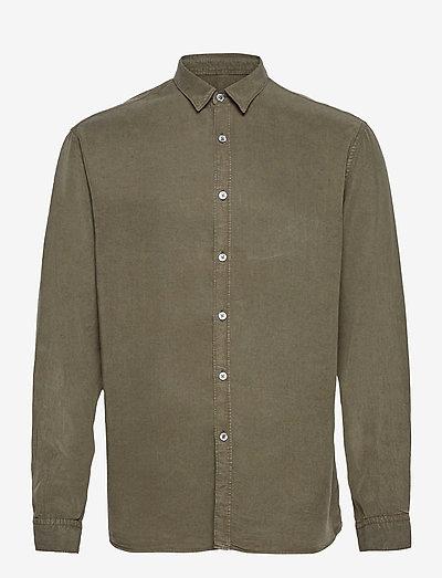 Washed Tencel Shirt - linnen overhemden - beetle green