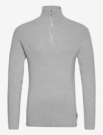 Half Zip Sweater - truien met halve rits - lt grey mel