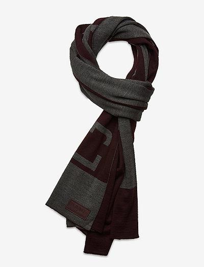 Large Wool Scarf - wintersjalen - dk burgundy logo