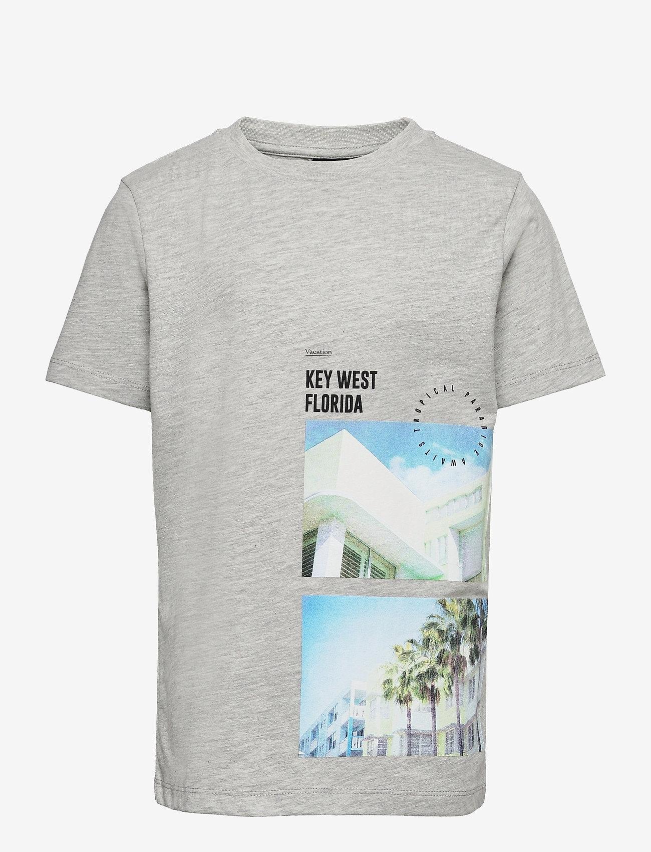 LMTD - NLMHYE SS R TOP BOX - t-shirts - light grey melange - 0