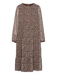 NLFJINET LS LONG DRESS - CHESTNUT