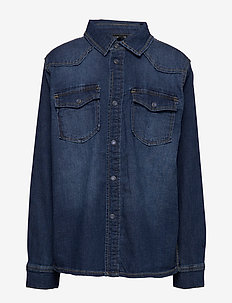 NLMBALLAN DNM 3269 LS SHIRT - DARK BLUE DENIM