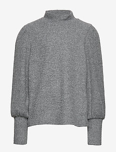NLFNANNA LS LOOSE TURTLENECK TOP - GREY MELANGE