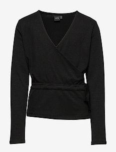 NLFNUNNE LS SHORT TOP - bluzki i tuniki - black